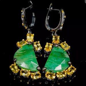 Elegant Genuine Emerald Citrine Earrings